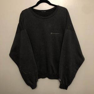 Champion cursive sweatshirt gray vtg distressed